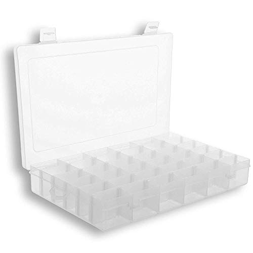 Plastic Organizer Box with Dividers | 36 Compartment Organizer | Jewelry Organizer Box | Clear Organizer Box for Bead Storage, Letter Board Letters, Fishing Tackle