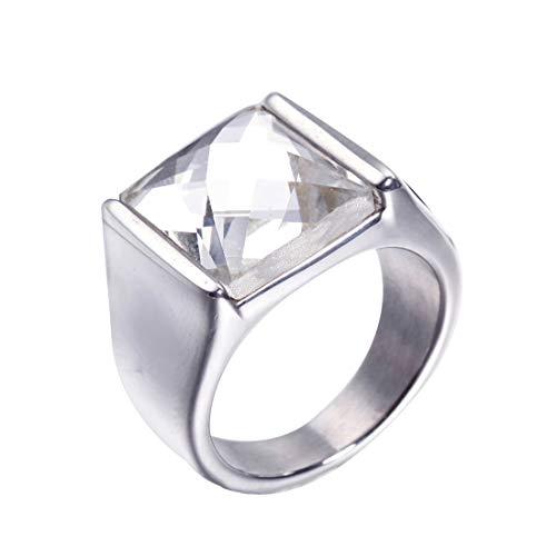 HIJONES Retro Anillo de Piedras Preciosas Corte de Diamante para Hombre Acero Inoxidable con Zirconia Cúbica Cuadrado Pulido Plata Blanco Talla 22