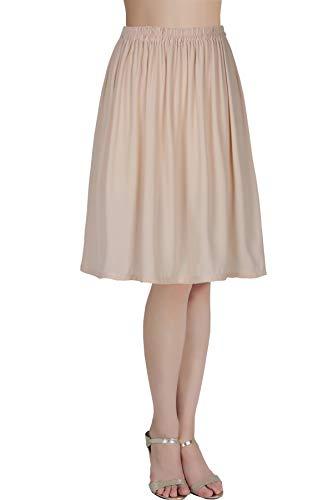 BEAUTELICATE Mujer Enagua de Gasa Corta Antiestática Combinación para Vestido Antideslizante Plain Falda Blanco Marfil Negro Azul Marino