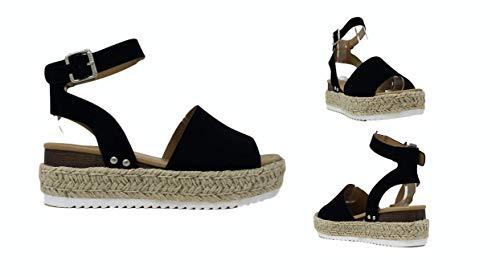 Soda Womens VALETT Open Toe Casual Ankle Strap Sandals