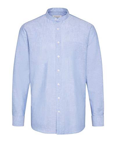 Bugatti Herren Hemd Leinenhemd mit Stehkragen und Brusttasche, Farbe:hellblau 330, Größe:43 (Herstellergröße XL)