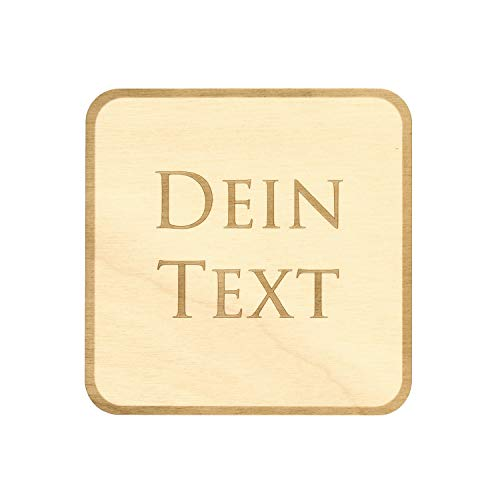 Design Untersetzer Bierdeckel graviert mit Wunschtext aus Holz, Form:Form 1