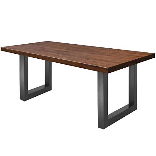 COMIFORT Mesa de Comedor - Mueble para Salon Oficina Despacho Robusto y Moderno de Roble Macizo Color Chicago, Patas de Acero U-Forma Grafito (130x75 cm)