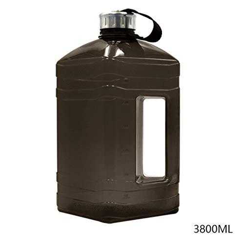 Botella de agua deportiva de gran capacidad sin BPA, 3,8 L, con asa y escala, reutilizable al aire libre negro