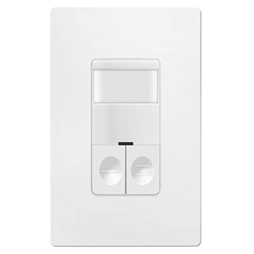 TOPGREENER Dual Load Occupancy/Vacancy Light Switch and Bathroom Fan PIR Motion Sensor, 800W, 1/4HP, 120/277VAC, Secured Ground Wire Required, Neutral Not Required, White TDOS5-JD