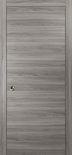 Modern Pocket Door 32 x 80 | Planum 0010 Ginger Ash | Frames Trims Pulls Rail Hardware | Solid Wood Interior Sliding Closet Grey Door |