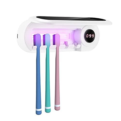 LTXDJ Portaspazzolino UV Sterilizzatore, USB 2000mAh Sterilizzatore per Spazzolino Elettricocon Coperchio Set Custodia Antipolvere con Funzione di Temporizzazione