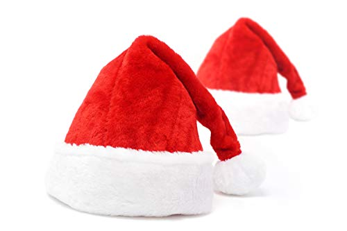 Moonday Santa Hat for Father Christmas, Santa Claus Christmas Costume Ornaments, Adults Deluxe Hats with Height 20 In(50cm), Width 12.2 In(32cm), (Pack of 2)