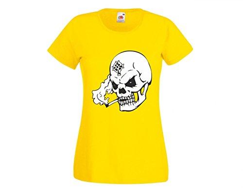 Camiseta de calavera con cigarrillo en la boca Qualm Cruz en la frente esqueleto Rocker Moto Club gótico Biker Skull Emo Old School para hombre mujer niños de 104 – 5XL amarillo Talla del hombre: XXX-Large