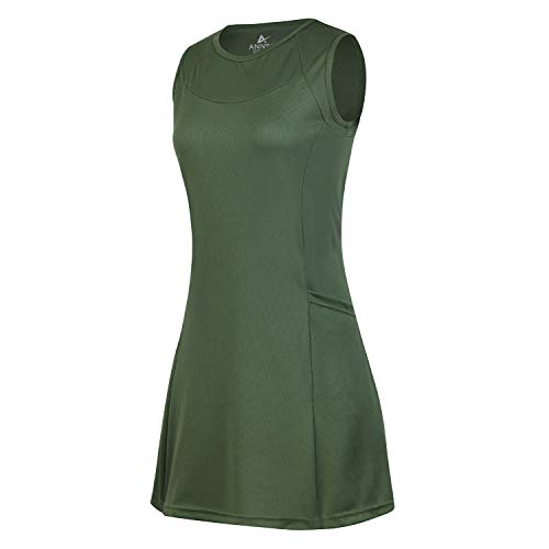 Tennis Dress for Women with Pocket, No Sleeveless Golf Dress Round-Neck for Sports (Green M)