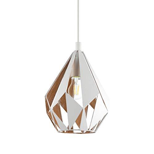 EGLO Lámpara colgante Carlton 1, 1 foco, vintage, lámpara colgante retro, de acero, color: blanco, dorado, casquillo: E27, diámetro 20,5 cm