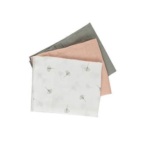 Popolini Baumwoll Mulltücher 3er Pack 70x70 cm (Soft Ginko)