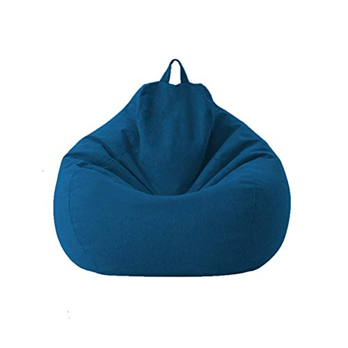 Aiglen Große kleine Faule Sofas Decken Stühle ohne Füllstoff Leinen Stoff Liegesitz Sitzsack Couch Tatami Wohnzimmer (Color : Blue, Size : 80X90)