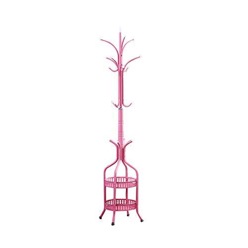 YHDP Metálico Perchero De Pie,Dormitorio Salón Percheros,Moderne Creativo con 2 Banqueta Almacenaje Soporte De Tapa De Piso A Techo Rosa 68.9pulgada
