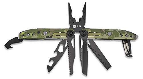 Alicate Camo K25 con Funda, 17 usos, Medidas 17,5 cm. para Caza, Pesca, Camping, Outdoor, Supervivencia y Bushcraft, 33288