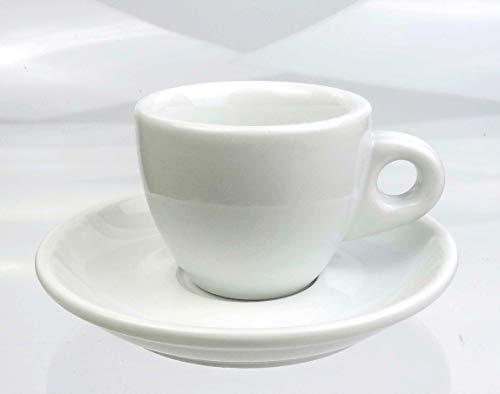 Nuova Point Dickwandige Espressotassen | 0,8 cm Tassenwand | Füllmenge (bis zur Oberkante): 55 ml | »Portofino weiß | 6 Tassen & 6 Untertassen