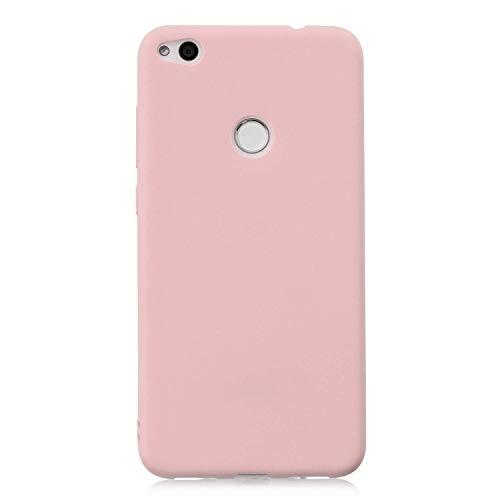 cuzz Funda para Huawei P8 Lite (2017)+{Protector de Pantalla de Vidrio Templado} Carcasa Silicona Suave Gel Rasguño y Resistente Teléfono Móvil Cover-Rosa Claro