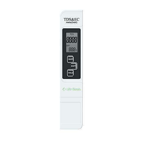 LifeBasis Tragbares TDS EC Temperatur Messgerät Wassertester Meter zur Überprüfung der Wasserqualität, 0-9990 µS/cm 0-9990 ppm, Thermometer Tester für Wasser MEHRWEG