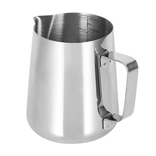 Edelstahl Dauerhafte hitzebeständige Schaumkaffeemaschine Kaffeetasse Milchschäumkrug für Barista(600ml corrosion scale)