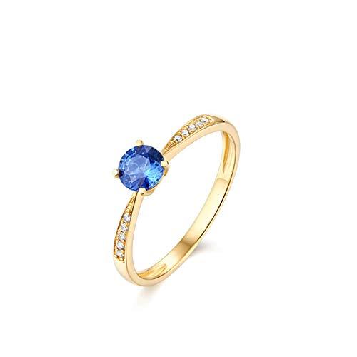 AueDsa Anillos Oro Anillo de Oro para Mujer 18 K Redondo Zafiro Azul Blanco 0.5ct Anillo Talla 17