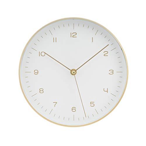 LUUK LIFESTYLE hochwertige, Schlichte Nordic Design Minimal Quarz Wanduhr mit Sekundenzeiger, Küchenuhr, Wohnzimmer Uhr, Büro Wanduhr, Flur, weiß