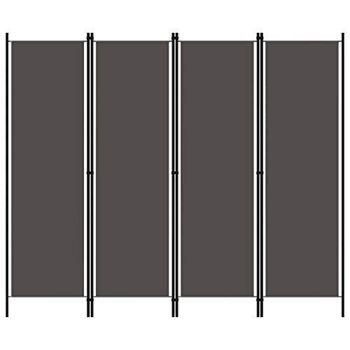 vidaXL Raumteiler Klappbar Freistehend Trennwand Paravent Umkleide Sichtschutz Spanische Wand Raumtrenner 4-TLG. Anthrazit 200x180cm Eisen Stoff