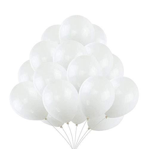 VAIOUS 100 Globos de Látex Elástico,25 cm,8 Pulgadas,Color Liso-Blanco
