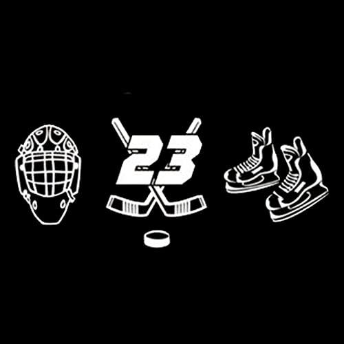 KDEQT Auto-Aufkleber 14,5 cm * 6,2 cm Mode Sport Eishockey Persönlichkeit Auto Aufkleber Schwarz Silber