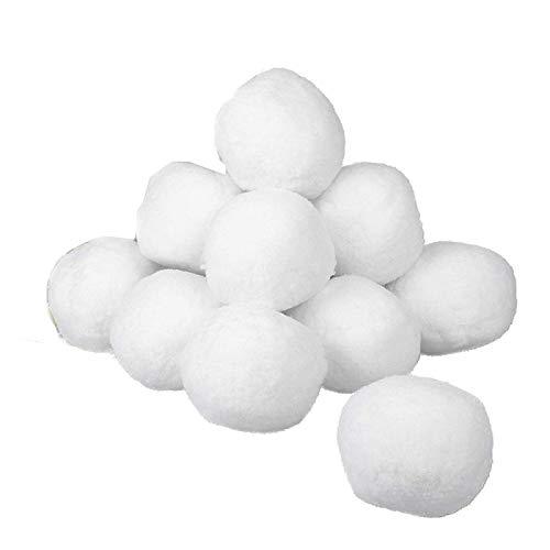 FINIMY Bolas de Nieve para Interiores 30 Piezas 7cm Bolas Blancas de luz Suave Bolas de Nieve de Alto Rebote para Interiores y Exteriores Bola deTela Bola de Nieve de Tela Artificial