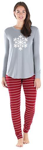 Sleepyheads Women's Knit Long Sleeve Tunic Top and Leggings Pajama Set, Solid Top Set - Red Stripe Snowflake, LRG