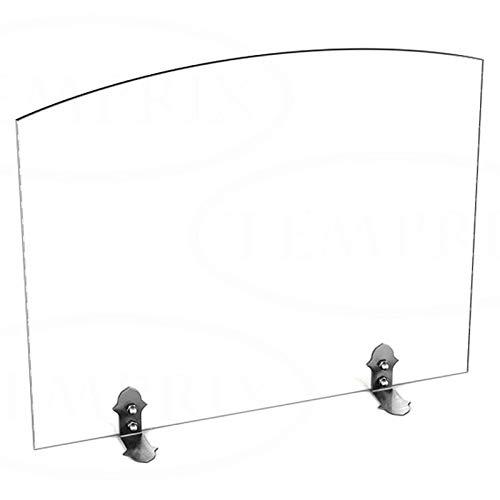 Stufa a Legna in vetro Parascintille Parascintille scintille protezione Griglia di sicurezza temprix | 540X 600X 6mm (L x A x P), Bianco