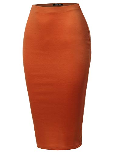 SSOULM Women's Work Office Stretchy Fitted Midi Pencil Skirt with Back Slit and Plus SizeRUST M