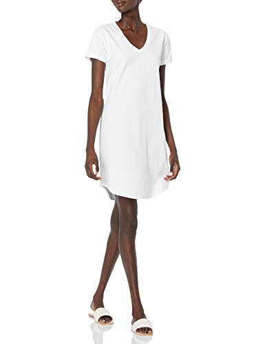 Daily Ritual Women's Lived-in Cotton Relaxed-Fit Roll-Sleeve V-Neck T-Shirt Dress, White, Large