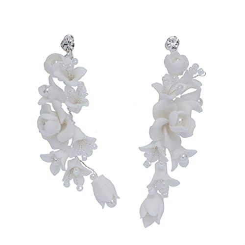 CZCDQA Accesorios de Peine de Pelo de Novia con Encanto Flor de Porcelana Blanca Femenino Hogar Hecho a Mano Boda Pelo Jewerly (Metal Color : Earrings)