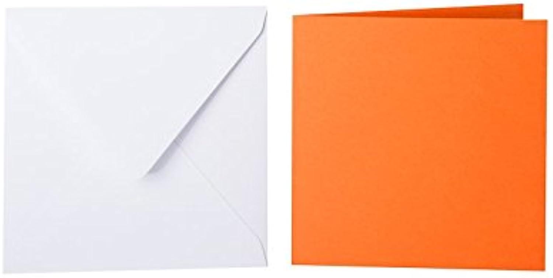 100 quadratische Briefumschläge 130 x 130 mm Weiß mit Dreieckslasche, 100g  100 Faltkarten 125 x 125 mm, 240g, Farbe  22 Orange B015PQK75Q | Bekannt für seine hervorragende Qualität