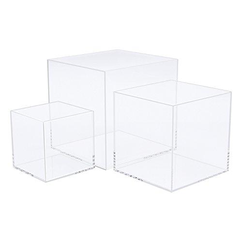 CRUODA Cubo de acrílico de 5 lados, 3x3x3 y 4x4x4 y 5x5x5 pulgadas, 3pc, Caja de soporte de exhibición de acrílico, Vitrina de acrílico, Caja de museo, Escaparate de joyería