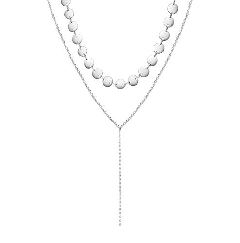 Layered Necklace Coin Disc Choker Necklace Chain Drop Necklace S925 Sterling Silver Necklace for Women