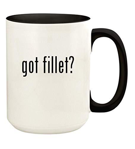 got fillet? - 15oz Ceramic Colored Handle and Inside Coffee Mug Cup, Black