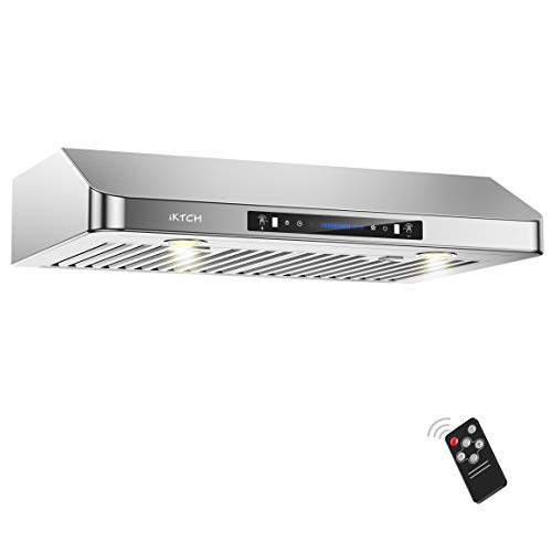 "IKTCH 36 Inch Under Cabinet Range Hood 900-CFM | 4 Speed Gesture Sensing/Touch Control Switch Panel, Kitchen Vent with 3 Pcs Baffle Filters, Rectangle Top/Rear Vent Options 3-1/4""x10"" Interchangeable"
