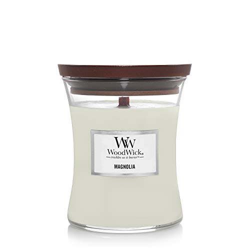 Woodwick Medium Hourglass Scented Candle   Magnolia   with Crackling Wick   Burn Time: Up to 60 Hours, Magnolia