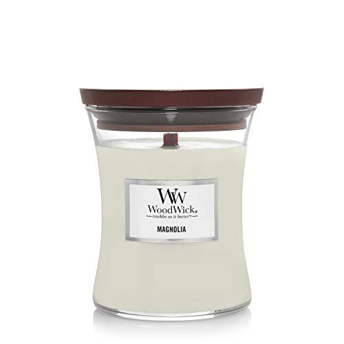 Mittelgroße WoodWick Duftkerze im Sanduhrglas mit knisterndem Docht, Magnolia, bis zu 60 Stunden Brenndauer