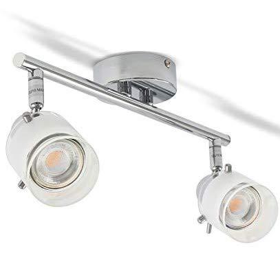 B.K. Licht applique murale LED spécial salle de bain, IP44, interrupteur à cordelette, spot orientable, luminaire salle de bain, blanc chaud, GU10, 230V, IP44, 5W
