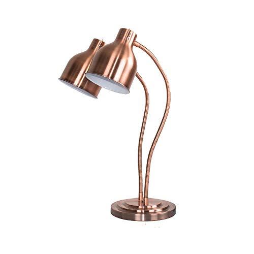 ZXT Food Warming-Lampe Einzel- / Doppelbirnen-Buffet-Display-Heizungslicht, kommerzielle tragbare W250-Wärmelampe (Farbe : Kupfer, größe : Double Head)