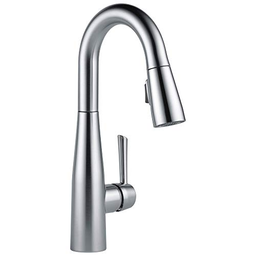 DELTA Essa Single-Handle Bar-Prep Kitchen Sink Faucet with Pull Down Sprayer and Magnetic Docking Spray Head, Arctic Stainless 9913-AR-DST