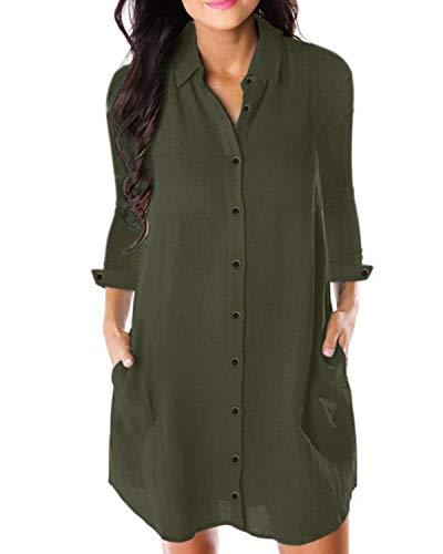 Kidsform Damska sukienka dżinsowa z długim rękawem, dekolt w kształcie litery V, denim, luźna tunika, górna część garderoby, krótka sukienka bluzowa