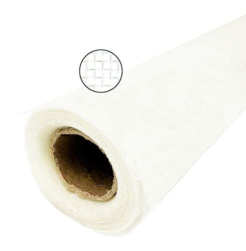 Mosquitera de tejido de fibra de vidrio de alta calidad, resistente a las mallas y a los rayos UV, color blanco, protección contra moscas en rollo (120 cm x 12,50 m)