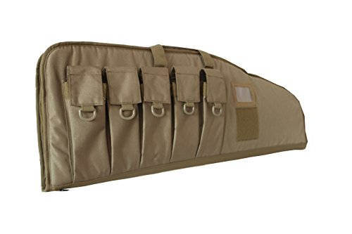"""ARMYCAMOUSA Rifle Bag Outdoor Tactical Carbine Cases Water dust Resistant Long Gun Case Bag with Five Magazine Pouches for Hunting Shooting Range Sports Storage and Transport (42"""" Tan)"""