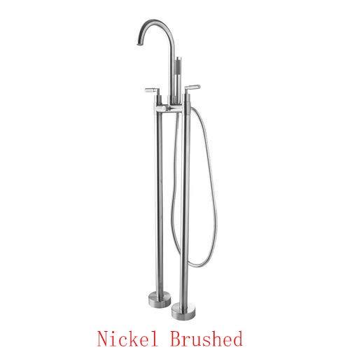 G0000D Armatur Badewanne Torneira Doppelgriffe Bodenmontage Nickel gebürstet Badezimmer Gefäß Waschbecken Messing Dusche Set Wasserhahn Mischbatterie