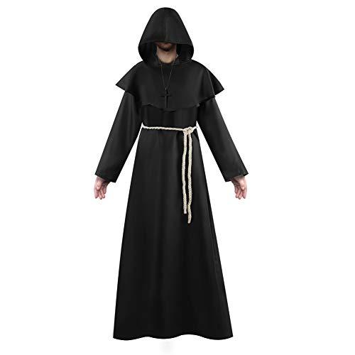 Vanansa Disfraz de monje para hombre, ropa medieval, con capucha, ideal para Halloween, fiestas temticas y carnaval, color negro, talla pequea