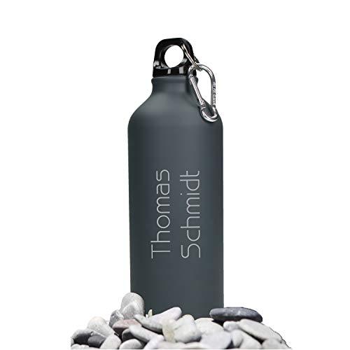 Cantimplora personalizada con nombre de 0,6 L, de aluminio, incluye grabado láser en color, antigoteo, sin BPA, con grabado personalizable, color Color blanco., tamaño 600 ml